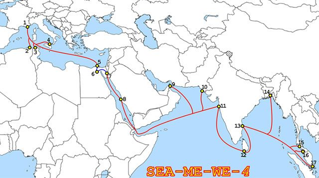 Route of the submarine cable Sea-Me-We 4, constructed in 2005 by Alcatel-Lucent and Fujitsu.