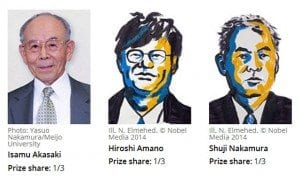 The Inventors of Blue LED Bulbs Are Awarded the 2014 Nobel Prize for Physics