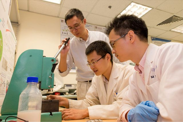 From left to right: Professor Chen Xiaodong supervising the work of two members of his team