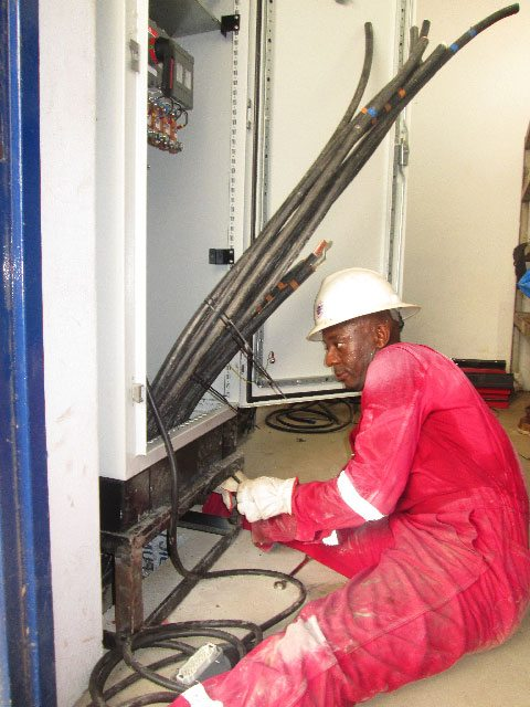 technician during the installation of the generator set