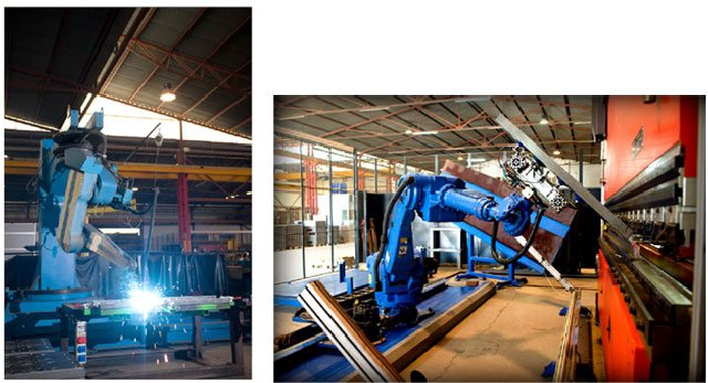On the left, a welding robot; on the right, a sheet-folding robot.