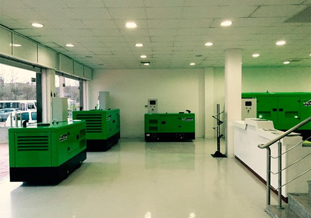 Inmesol generator sets on display in the new Sarl Obi showroom