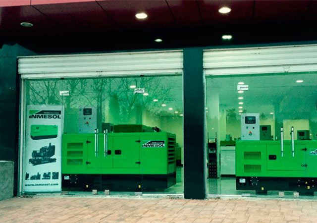 Inmesol generator sets in the display window of our distributor's new facilities