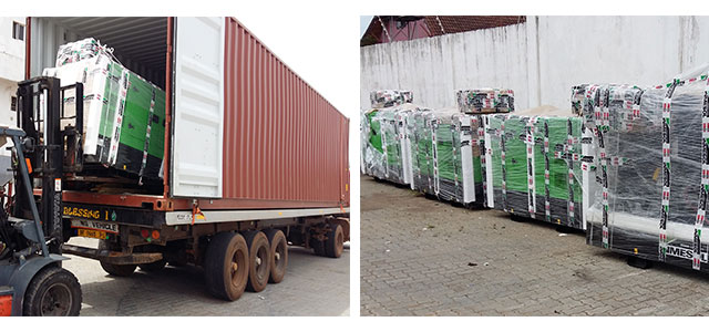 Gensets unloading at our distributor's facilities in GHANA