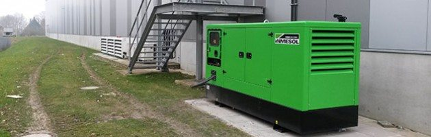 INMESOL II-110 genset installed outside of a pharmaceutical products distribution warehouse at Werne (Germany)