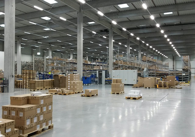 Inside of a pharmaceutical products distribution warehouse at Werne (Germany)