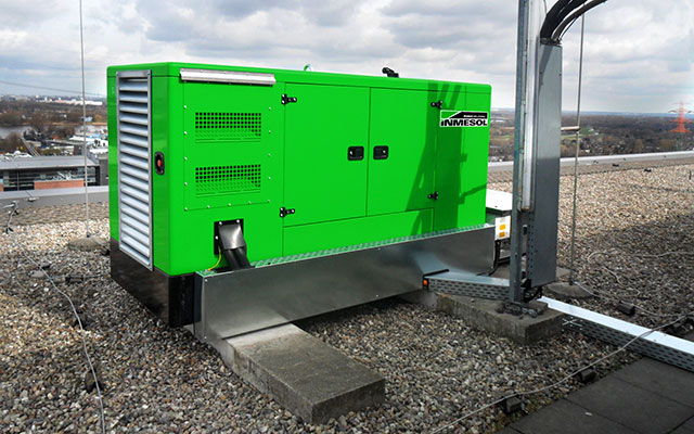 generator set installed on the roof terrace of the business centre.