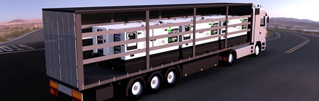 Infographic of a 40 feet truck carrying 6 units of the IRN-165, IVRN-145, and IVRN-165 generator set models