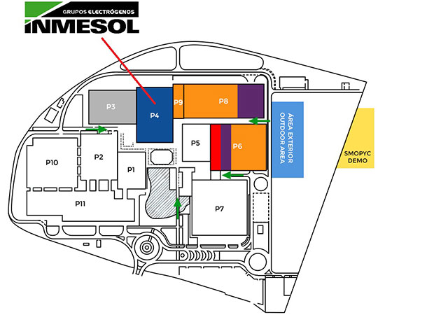INMESOL booth location within the FERIA DE ZARAGOZA grounds, at SMOPYC