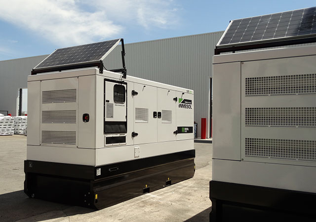 Rental range of gensets with solar panels