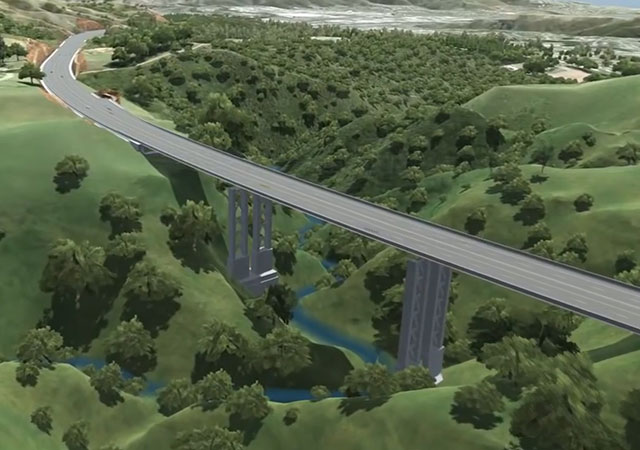 Infographic of the bridge section of the future Gully highway
