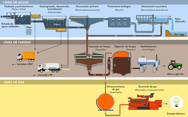 INFOGRAPHIC or typical flow of a waste water treatment plant