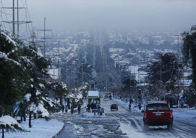 Santiago city covered in snow. - Image: EPA