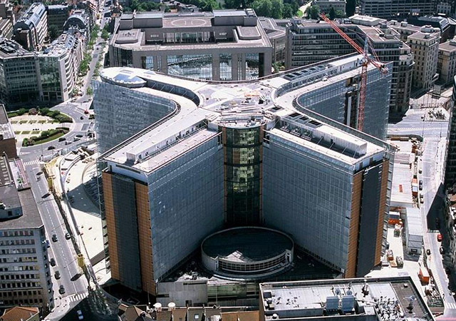 Image copyrighted to the European Union. Berlaymont building aerial view