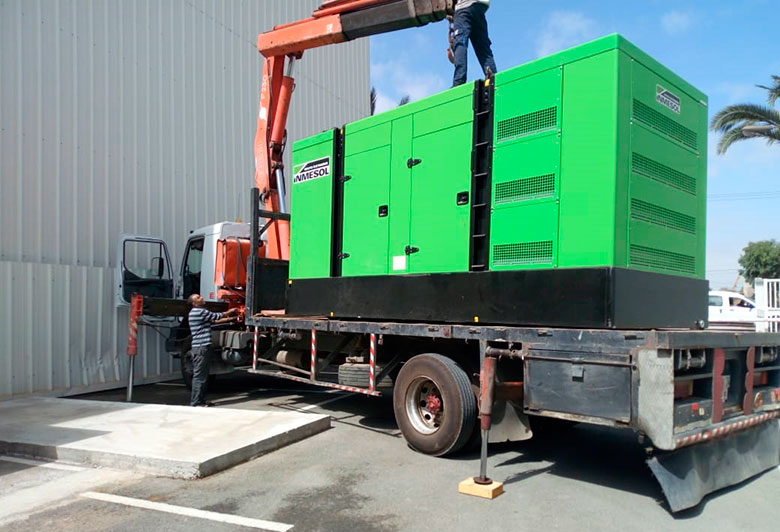 INMESOL genset model IV ‐ 650 arriving at COOPER PHARMA's facilities, in Morocco